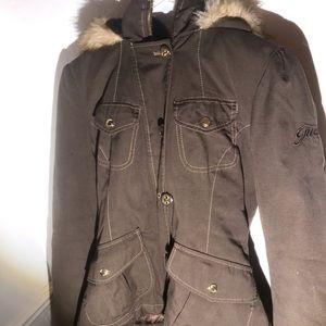 Guess Jackets & Coats - Guess fur coat zip/button up